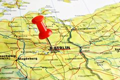 Berlin map with pin Stock Photography