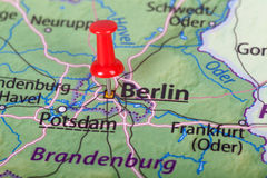 Berlin map with red pin - Travel concept. Close up of Berlin map with red pin - Travel concept Stock Photos