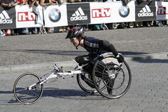 Berlin Marathon wheelchair driver Royalty Free Stock Photos