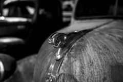 Ram hood ornaments of full-size pickup Dodge, 1945. BERLIN - MAY 05, 2018: Ram hood ornaments of full-size pickup Dodge, 1945. Black and white royalty free stock photo