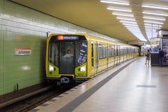 Berlin metro. Train (Adtranz H-type) at Kurfurstendamm station Royalty Free Stock Photos