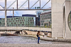 Berlin, modern architecture: goverment buildings on the Spree. Berlin, modern architecture on the Spree river: on the right  Marie Elisabeth Luder Haus Royalty Free Stock Photos
