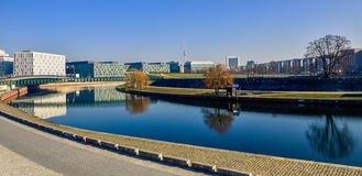 Berlin modern city center with Spree Royalty Free Stock Photo