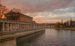 Berlin, Museum island, evening. Photo of Museum Island and Spree river in the light of setting sun stock photo