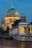 Berlin, Museumsinsel, Berliner Dom, Nacht. Museumsinsel in Berlin with Berliner Dom in background and River Spree at night royalty free stock photos