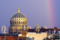 Berlin new synagogue dome and rainbow in Berlin, Germany Stock Photo