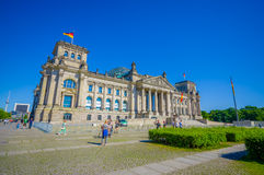 BERLIN NIEMCY, CZERWIEC, - 06, 2015: Reichstag historyczny buiding w centrum Berlin w tiergarten strefę Zdjęcie Stock