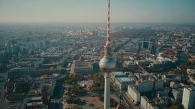 BERLIN NIEMCY, PAŹDZIERNIK, - 21, 2018 TV wierza i miasto, widok z lotu ptaka zdjęcie stock