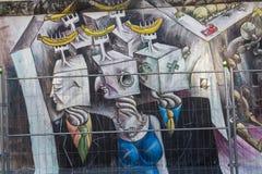 BERLIN NIEMCY, WRZESIEŃ, - 15: Berlińskiej ściany graffiti widzieć na WRZEŚNIU 15, 2014, Berlin, wschodniej części galeria Ja ` s Obraz Stock