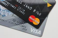 Berlin Niemcy, Wrzesień, - 4, 2017: Bank kart MasterC i wiza Zdjęcie Stock