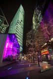 Berlin at night. BERLIN - JANUARY 18: DB tower on Potsdamer Platz on January 18, 2011 in Berlin, Germany. DB tower is one of Berlin's tallest buildings stock photography