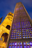 Berlin Night. Abstract view of Kaiser Wilhelm Memorial Church, Kurfurstendamm, Berlin Germany Royalty Free Stock Photo