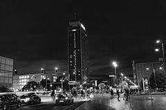 Berlin at Night - Alexanderplatz - black and white. A black and white picture of Berlin Alexanderplatz at night Stock Image