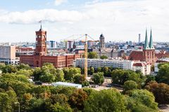 Berlin with Nikolaikirche and Rotes Rathaus Stock Photography