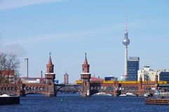 Berlin Oberbaumbridge and television tower Stock Images