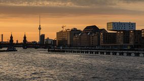Berlin oberbaumbrucke with tv tower. At sunset Stock Photos
