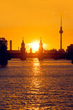 Berlin oberbaumbruecke sunset Stock Image