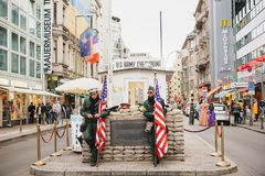 Berlin, October 1, 2017: Checkpoint Charlie - frontier checkpoint on Friedrichstrasse in Berlin. Checkpoint Charlie - frontier checkpoint on Friedrichstrasse in royalty free stock photography