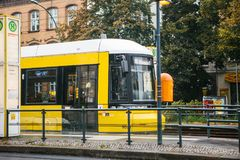 Berlin, October 2, 2017: City public transport in Germany. Beautiful black and yellow train stopped at stop on the Royalty Free Stock Image