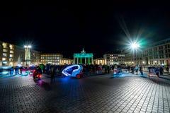 The annual Festival of lights 2018. Berlin. Germany. BERLIN - OCTOBER 07, 2018: Pariser Platz and Brandenburg Gate in brightly colored illuminations. Festival stock photos