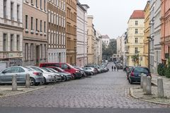 BERLIN - OCTOBER 18, 2016: People walking along a beautiful street in Berlin Stock Photography