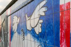 BERLIN - OCTOBER 19, 2016: Restricting access to the East Side Gallery. That is, ironically, an international memorial for freedom Royalty Free Stock Images