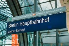 Berlin, 03 October 2017: Signboard Central station called Berlin Hauptbahnhof. Transportation by rail. Stock Photography
