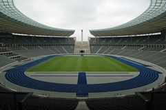 The Berlin Olympiastadion. Inside view of the Berlin Olympiastadion Royalty Free Stock Images