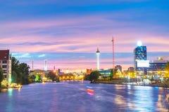 Berlin på natten Arkivbild