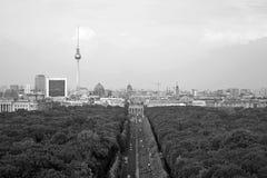 Berlin Panorama met Tiergarten-park stock fotografie