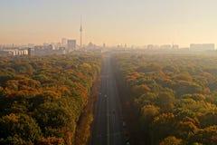 Berlin Panorama met Tiergarten-park stock afbeeldingen