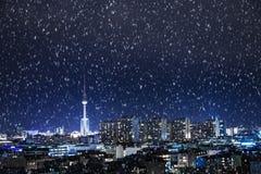 Berlin panorama och snö Royaltyfri Bild