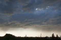 Berlin Panorama Silhouette. Silhouette of Berlin during a rainstorm with TV-Tower Stock Photos