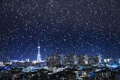 Berlin panorama and snow Royalty Free Stock Image