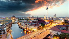 Berlin panorama at sunset, Time lapse stock video footage