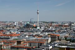 berlin 06/14/2018 Panoramiczny widok z wierzchu Potsdamer Platz wierza obrazy royalty free
