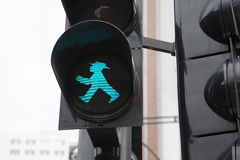 Berlin Pedestrian Green Traffic Light Royaltyfria Foton