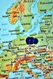 Berlin pin travel destination. Berlin pin on map Europe travel destination Stock Images