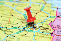 Berlin pinned on a map of europe Stock Photos