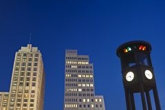 Berlin Potsdamer Platz. Buildings and clock at Potsdamer Platz in Berlin Royalty Free Stock Photos