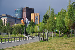 Berlin, Potsdamer Platz and urban park view. Germany. Berlin city centre: Potsdamer Platz buildings and Gleisdreieck park. New green urban development in the Stock Photo