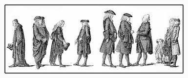 Berlin preachers XVIII century. Caricatural and mundane representation of the Berlin clergy in XVIII century Royalty Free Illustration