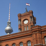 Berlin Rathaus and TV Tower Stock Photography