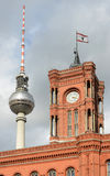 Berlin Rathaus and TV tower Royalty Free Stock Photo