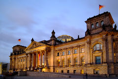 Berlin Reichstag at dusk. Berlin Reichstag (Congress Building) in Berlin, Germany Stock Image