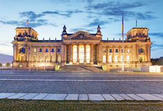 Berlin Reichstag. Image of illuminated Reichstag Building in Ber Stock Photography
