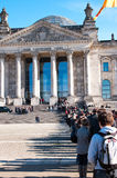 Berlin Reichstag queue. People queuing to Berlin Reichstag, popular touristic destination in Germany Royalty Free Stock Images