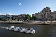 Berlin reichstag riverside view sundown Royalty Free Stock Photography