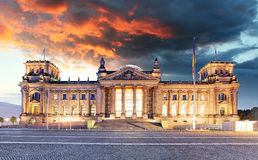 Berlin - Reichstag and sunrise, Germany Royalty Free Stock Photography