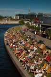 Berlin relaxation at the Spree banks Royalty Free Stock Photos